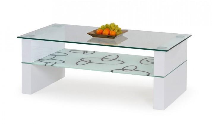 Konferenční stolek - skleněný Linnea(bílá)