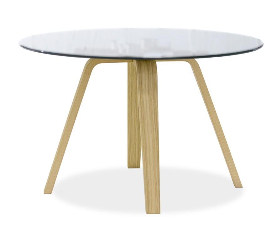 Konferenční stolek - skleněný LOLA 9307-090+ELLA 9348-054 (čiré sklo,dub)