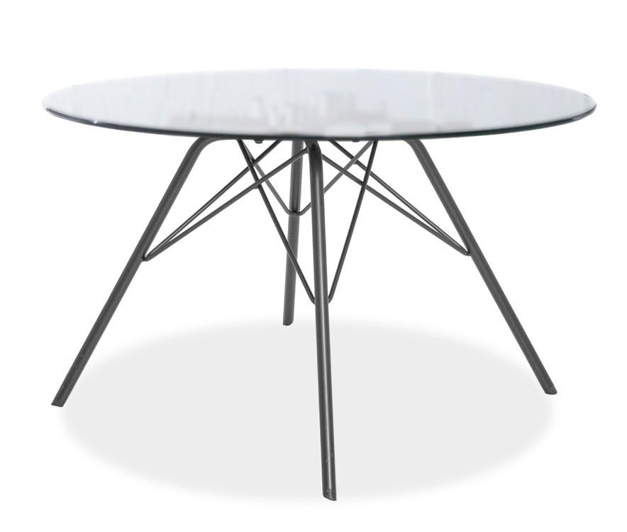 Konferenční stolek - skleněný LOLA 9307-090+PORGY 9346-824 (čiré sklo,bílá)