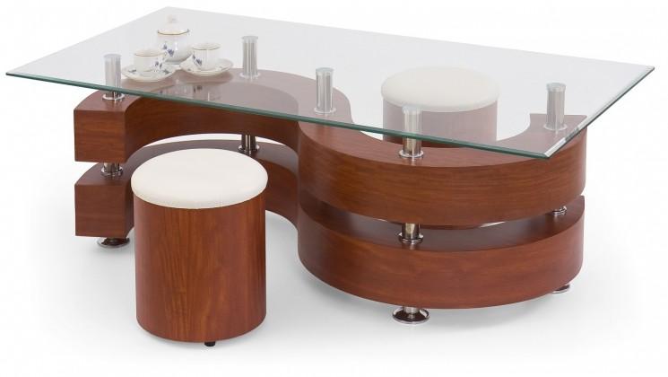 Konferenční stolek - skleněný Nina II (třešeň antik)