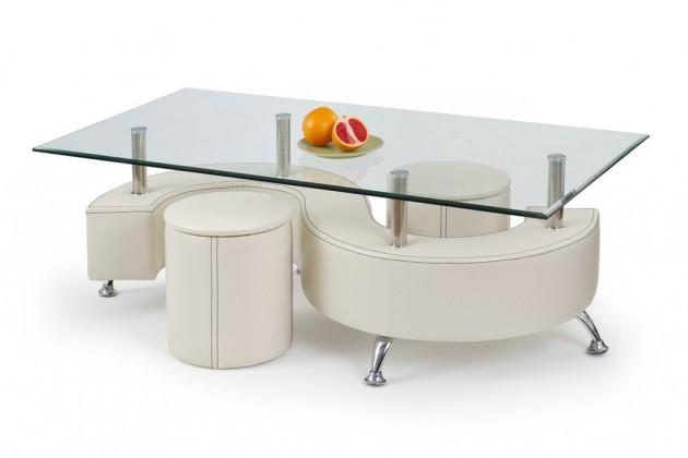Konferenční stolek - skleněný Nina III H(bílá)