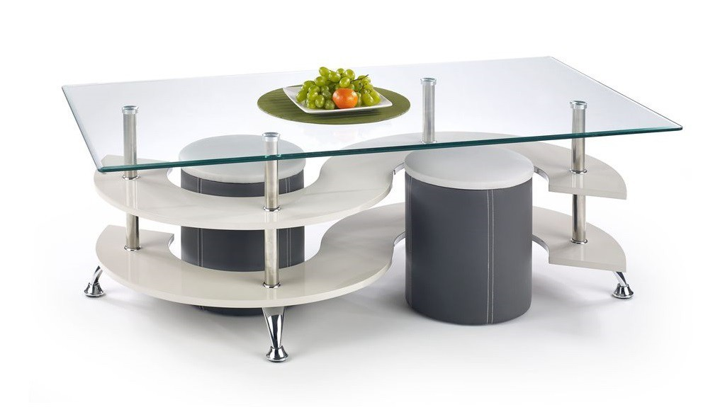 Konferenční stolek - skleněný Nina V (šedá/tmavě šedá)