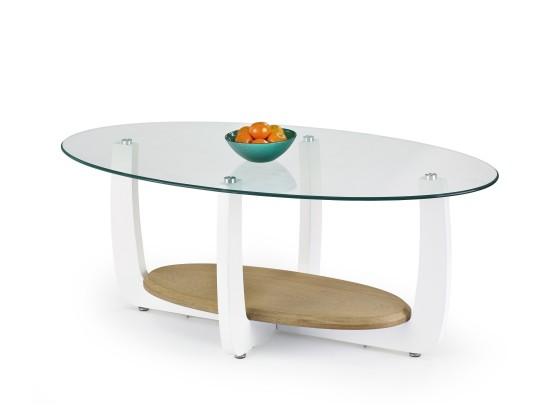 Konferenční stolek - skleněný Rozalia(bílá/ dub sonoma)