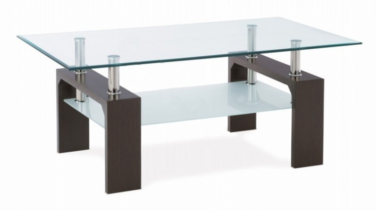 Konferenční stolek - skleněný Simona (ořech)