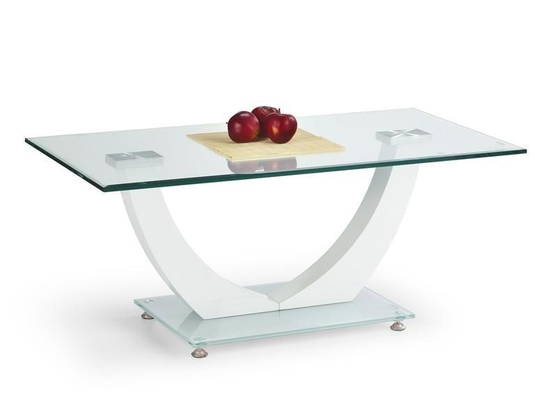 Konferenční stolek - skleněný Skandia (Bílá/Sklo)