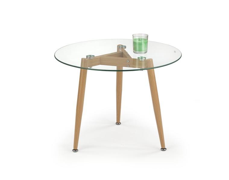 Konferenční stolek - skleněný Spectra - Konferenční stolek kruhový, nohy ocel (sklo)