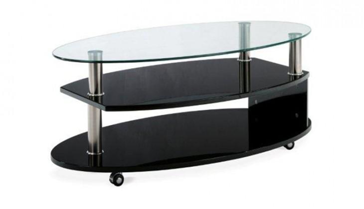 Konferenční stolek - skleněný VERMONT BK (Čiré sklo/Vysoký černý lesk)