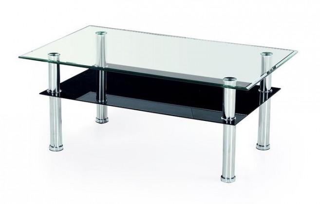 Konferenční stolek - skleněný Yolanda(sklo/ černá police)
