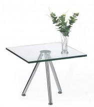 Konferenční stolek Solo - čtvercový, vyšší (transp. sklo, chrom)