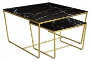Konferenční stolek Stella - set 2 ks, stohovatelné (zlatá/černá)