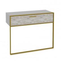 Konzolový stolek Moser (bílý mramor, zlatá)