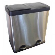 Kôš s plastovým víkem na třídané odpad Toro, nerez, 2x30l