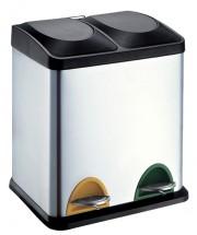 Koš s plastovým víkem na tříděný odpad Toro, nerez, 2x15l