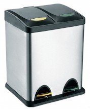 Koš s plastovým víkem na tříděný odpad Toro, nerez, 2x8l
