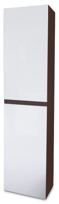 Koupelny ZLEVNĚNO Luis - Závěsná skříňka vysoká SD 64 (bílá lesk/wenge)