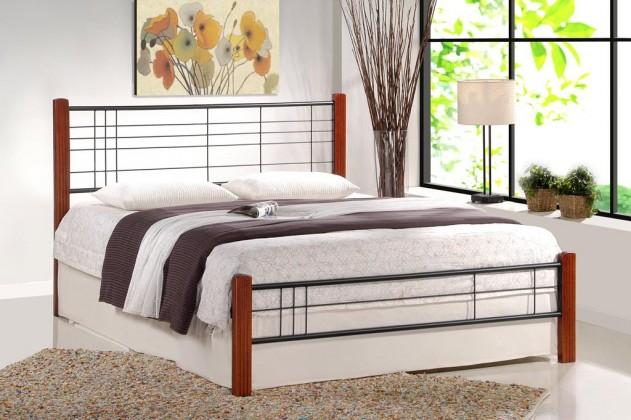 Kovová Kovová postel Vera 160x200, třešeň, černá, vč.roštu, bez matrace