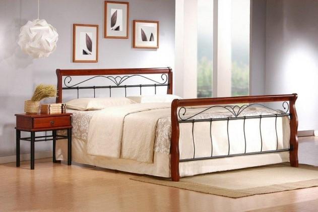 Kovová Kovová postel Verona 180x200, třešeň, černá,vč.roštu,bez matrace
