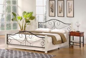 Kovová postel Susanne 160x200, bílá, černá, vč.roštu,bez matrace