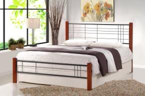 Kovová postel Vera 160x200, třešeň, černá, vč.roštu, bez matrace