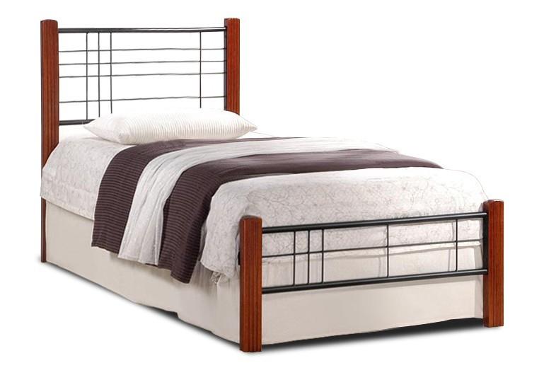 Kovová Vera - Postel 200x90, rám postele, rošt (antická třešeň, černá)