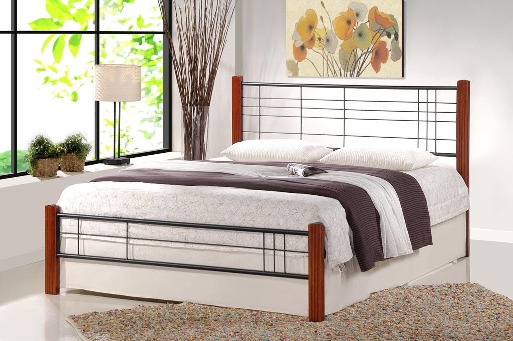 Kovové postele Kovová postel Vera 160x200, třešeň, černá, vč.roštu, bez matrace