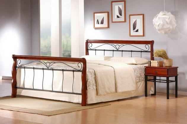 Kovové postele Kovová postel Verona 160x200, třešeň, černá,vč.roštu,bez matrace