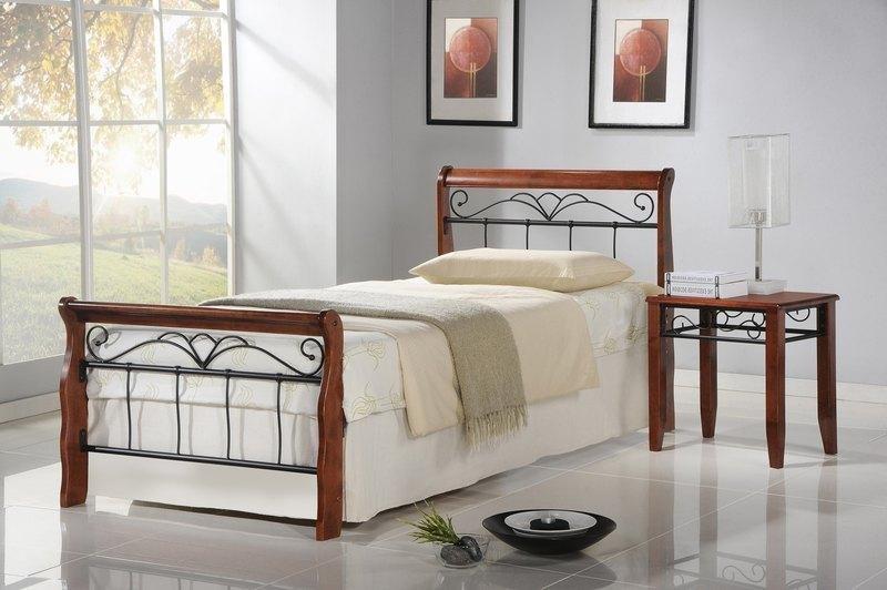 Kovové postele Kovová postel Verona 90x200, třešeň, černá, vč.roštu,bez matrace
