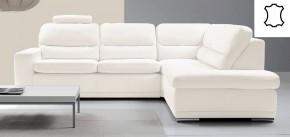 Kožená sedačka rozkládací Bono pravý roh bílá
