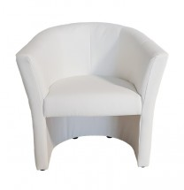 Kožené křeslo Lecce bílá - II. jakost