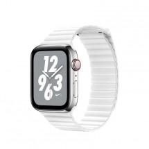 Kožený magnet. řemínek pro Apple watch 38/40 mm, Loop, bílá