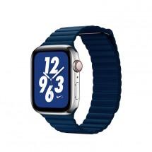 Kožený magnet. řemínek pro Apple watch 38/40 mm, Loop, T modrá