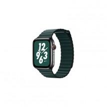Kožený magnet. řemínek pro Apple watch 38/40 mm, Loop, T zelená