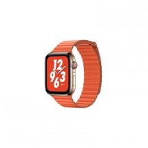 Kožený magnet. řemínek pro Apple watch 42/44 mm, Loop, oranžová
