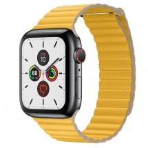 Kožený magnet. řemínek pro Apple watch 42/44 mm, Loop, žlutá