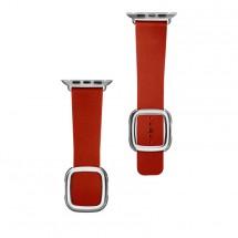 Kožený magnetický řemínek pro Apple watch 42/44 mm, červená