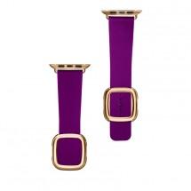 Kožený magnetický řemínek pro Apple watch 42/44 mm, fialová