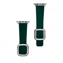 Kožený magnetický řemínek pro Apple watch 42/44 mm, zelená