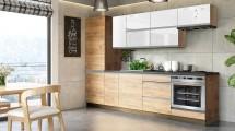 Kuchyně Brick light 280 cm (bílá lesk/craft) - PŘEBALENO