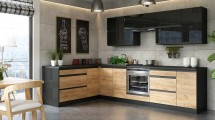 Kuchyně Brick - pravý roh, 300x182 cm (černá vysoký lesk/craft)