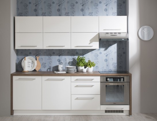 Kuchyně Carla - 240 cm (bílá vysoký lesk/dub halifax)