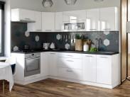 Kuchyně Emilia levý roh 243x143 cm (bílá vysoký lesk/černá)