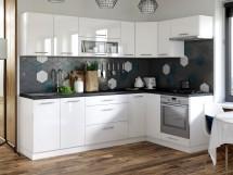 Kuchyně Emilia pravý roh 243x143 cm (bílá vysoký lesk/černá)