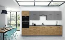 Kuchyně Felicita 320 cm (šedá, dub lefkas)