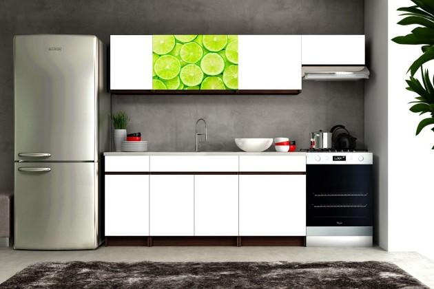 Kuchyně, jídelny ZLEVNĚNO Eliza 2 - 180/240 cm (wenge/bílá/travertin tmavý/limetka)