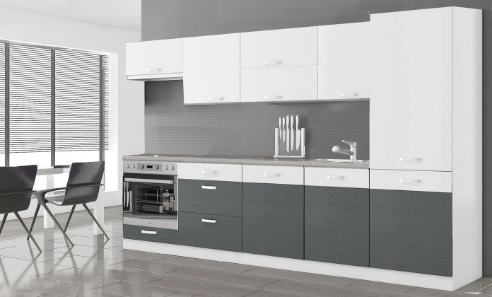 Kuchyně, jídelny ZLEVNĚNO Manhattan - Kuch.blok 300cm (bílá/šedá l