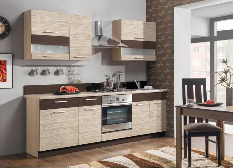 Kuchyně, jídelny ZLEVNĚNO Marina -Kuchyňský blok 240 cm (mořská tráva/zebrano)