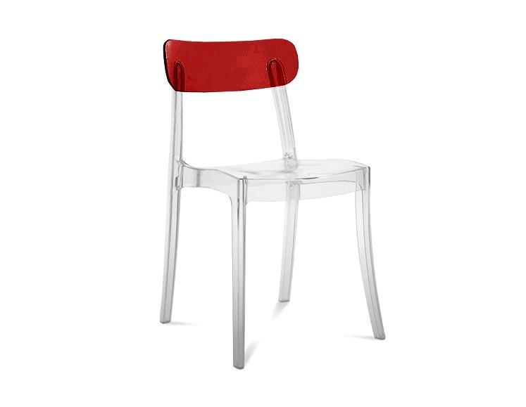 Kuchyně, jídelny ZLEVNĚNO New retro - Jídelní židle (transparentní, bordó)