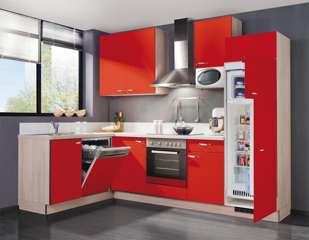Kuchyně, jídelny ZLEVNĚNO Slowfox - Kuchyň rohová, 280x175cm (červená/akácie)