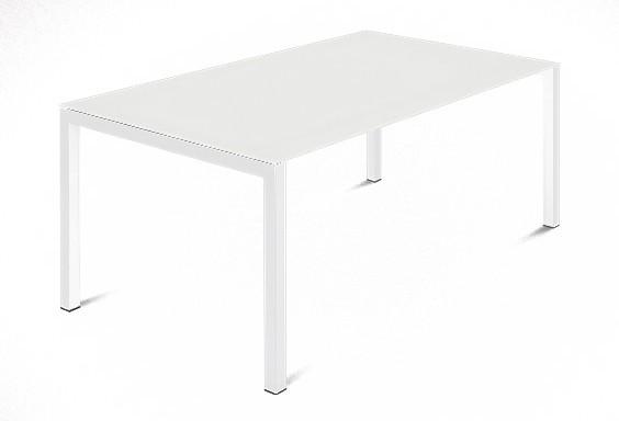 Kuchyně, jídelny ZLEVNĚNO Web - 140 cm (kostra ocel bílá/deska leptané sklo bílé)