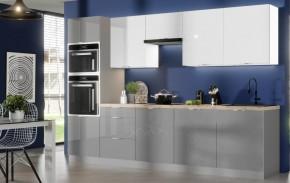 Kuchyně Jodie 300 cm (bílá, šedá, vysoký lesk)